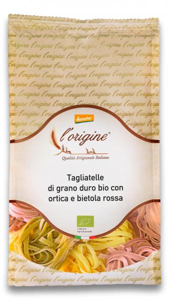Paste tagliatelle bio demeter din grau dur, urzica si sfecla rosie L'origine [0]