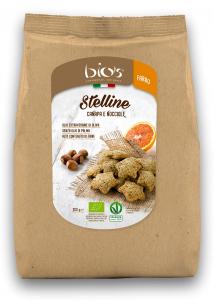 Biscuiti bio stelute cu seminte de canepa si alune de padure Bio's