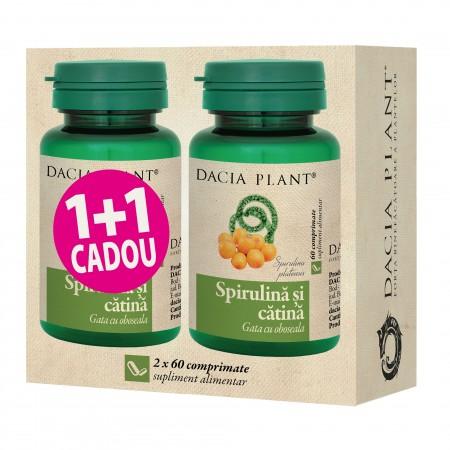 Spirulina si Catina comprimate 1+1 CADOU 2X 60 cps Dacia Plant 0