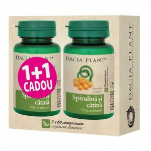 Spirulina si Catina comprimate 1+1 CADOU 2X 60 cps Dacia Plant