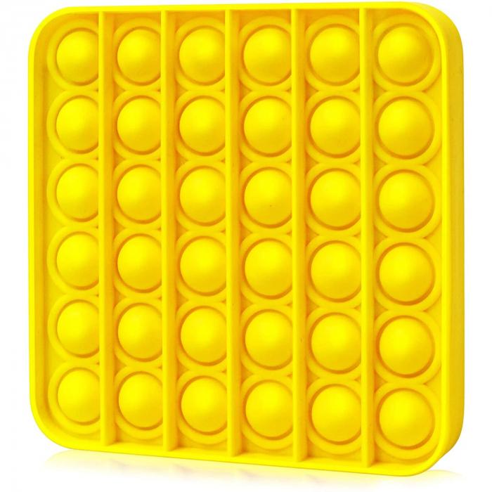 Jucărie senzorială POP IT culoare galbenă, formă pătrată [0]