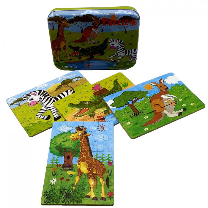 Set 4 puzzle in cutie metalică-ANIMALE SAFARI [0]
