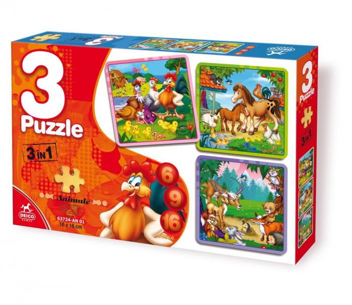 Puzzle 3 în 1 - Animale [0]