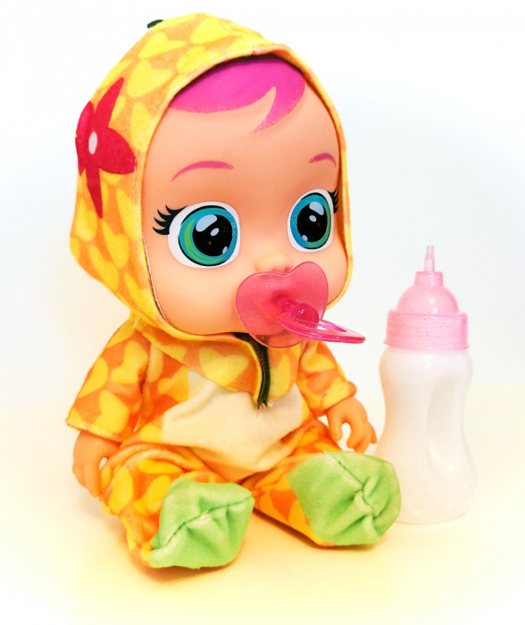 Păpuşă bebeluş interactiv cu sunete, CRY BABIES, culoare galbenă [0]