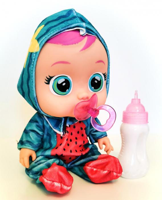 Păpuşă bebeluş interactivă cu sunete, CRY BABIES, culoare verde [0]