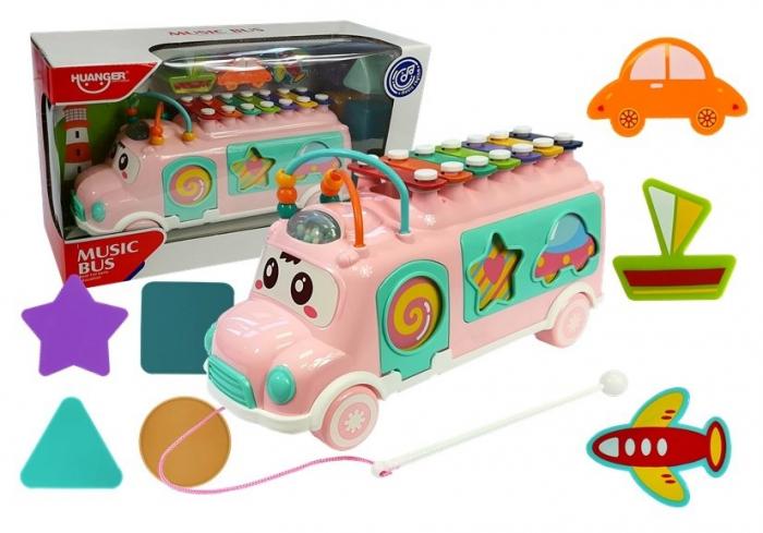 Jucărie AUTOBUZ muzical pentru copii culoare roz [0]