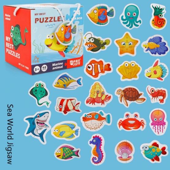 Set 24 puzzle din 2 bucăţi- ANIMALE MARINE-MY BEST PUZZLES 24 IN A BOX MARINE ANIMAL [0]