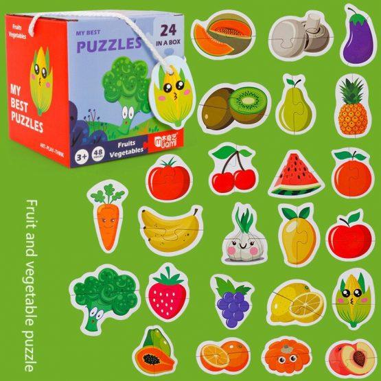 Set 24 puzzle din 2 bucăţi- FRUCTE ŞI LEGUME-MY BEST PUZZLES 24 IN A BOX FRUITS VEGETABLES [0]