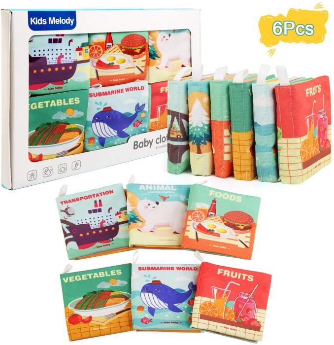 Set 6 cărticele textile cu pagini foşnăitoare pentru bebeluşi [0]