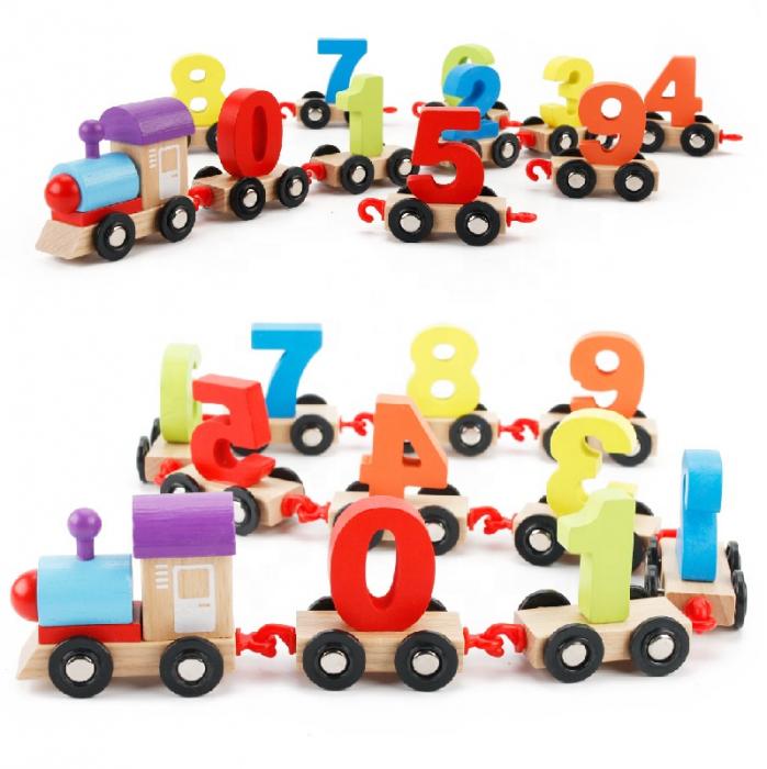 Trenuleţ din lemn DIGITAL cu vagoane numerotate de la 0 la 9 [3]