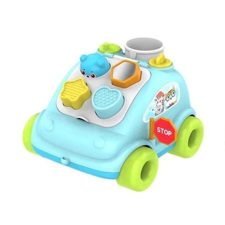 Maşinuţă de tras cu sortator forme ABERO Hop the bear bus culoare albastră [1]