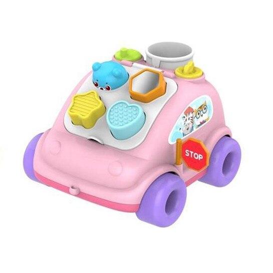 Maşinuţă de tras cu sortator forme ABERO Hop the bear bus culoare roz [1]