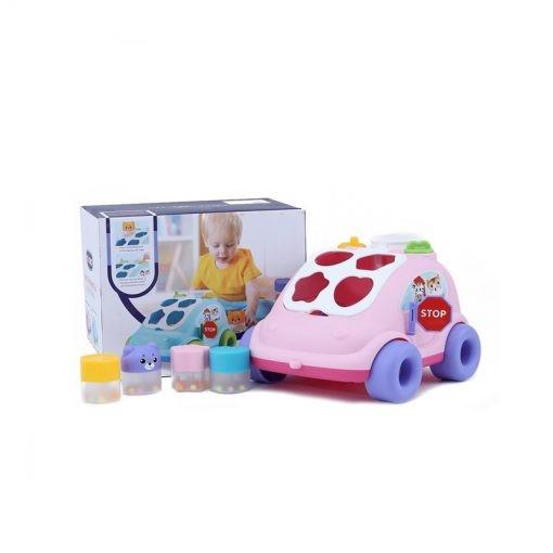 Maşinuţă de tras cu sortator forme ABERO Hop the bear bus culoare roz [0]