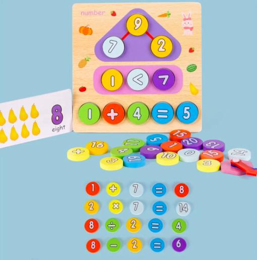 Joc din lemn 2 în 1 ceas și calcule matematice TWO IN ONE DIGITAL CLOCK [2]