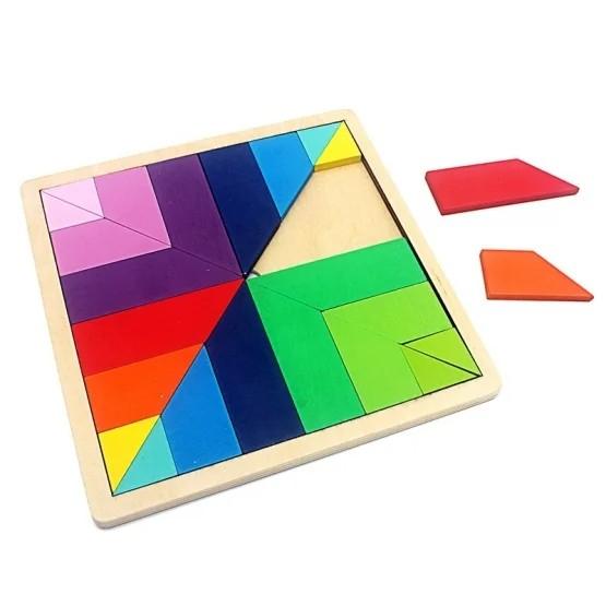 Joc din lemn tangram curcubeu formă pătrată [0]