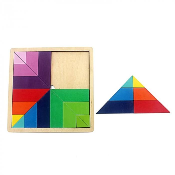Joc din lemn tangram curcubeu formă pătrată [1]