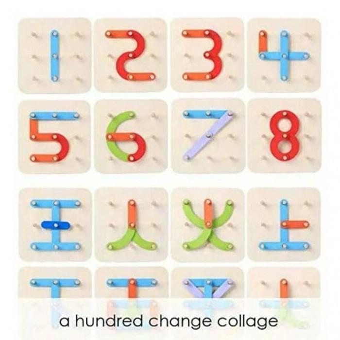Joc educativ din lemn de construit litere, cifre, forme de tip Montessori - A hundred change collage [2]