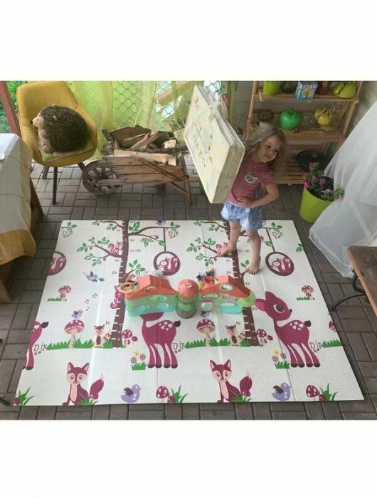 Covoraș de joacă pliabil din spumă cu 2 fețe. Dimensiune 150 cm x 200 cm x 1 cm model Girafe [1]