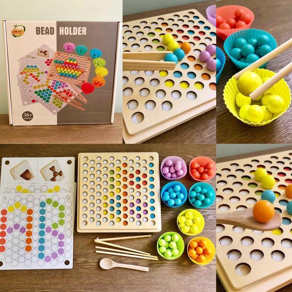 Jucărie din lemn de tip Montessori de îndemânare și asociere cu bile colorate BEAD HOLDER [0]