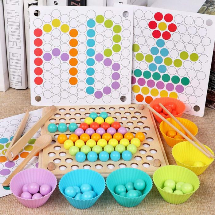 Jucărie din lemn de tip Montessori de îndemânare și asociere cu bile colorate BEAD HOLDER [2]