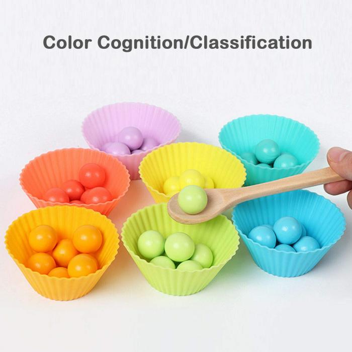 Jucărie din lemn de tip Montessori de îndemânare și asociere cu bile colorate BEAD HOLDER [5]