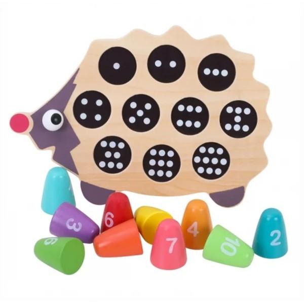 Joc din lemn de asociere Montessori - Ariciul cu cifre [2]