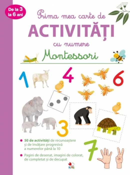 Prima mea carte de activități cu numere de la 3 la 6 ani. Montessori [0]