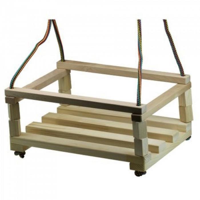 Leagăn din lemn pentru copii cu bare de protecție [0]