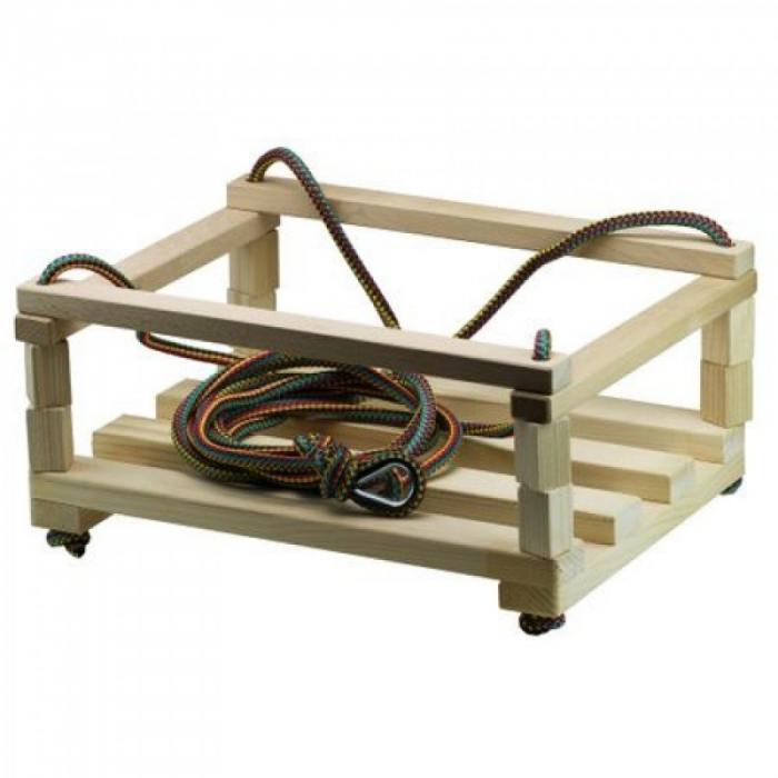 Leagăn din lemn pentru copii cu bare de protecție [1]