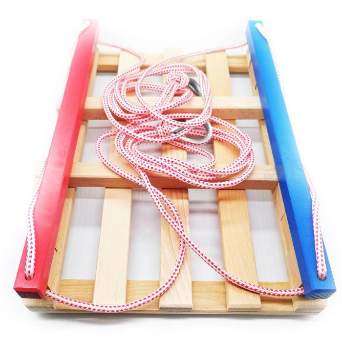 Leagăn din lemn pentru copii cu bare de protecție colorate [1]