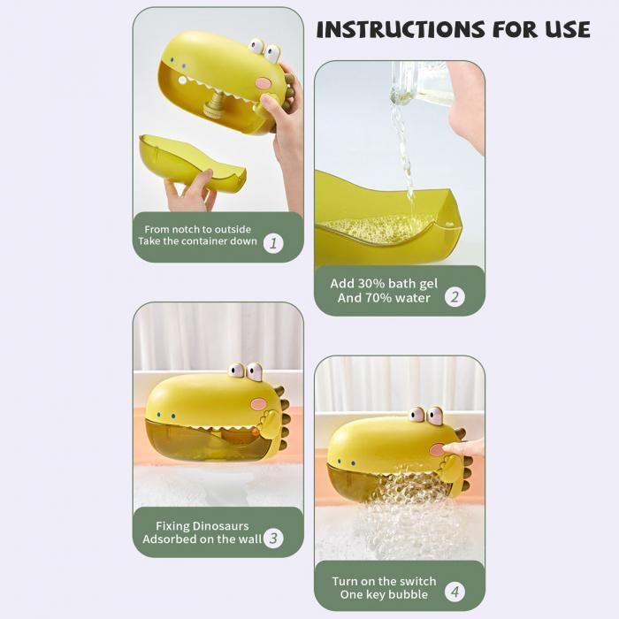 Jucărie de făcut baloane de săpun pentru baie cu sunete design crocodil verde [6]