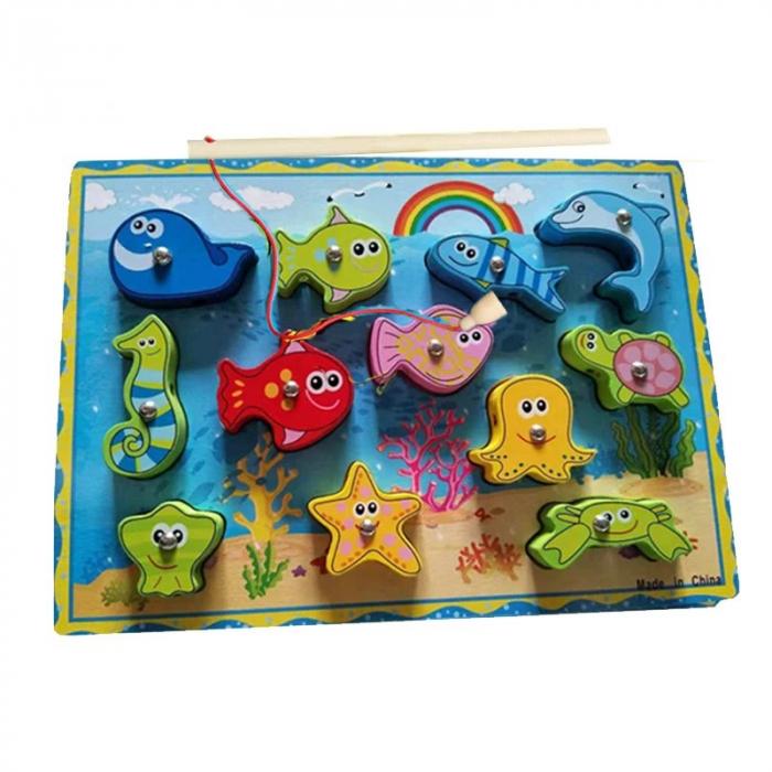 Joc 3 în 1 din lemn ANIMALE MARINE - puzzle 3D, joc de pescuit și jucărie de înșiruit [0]
