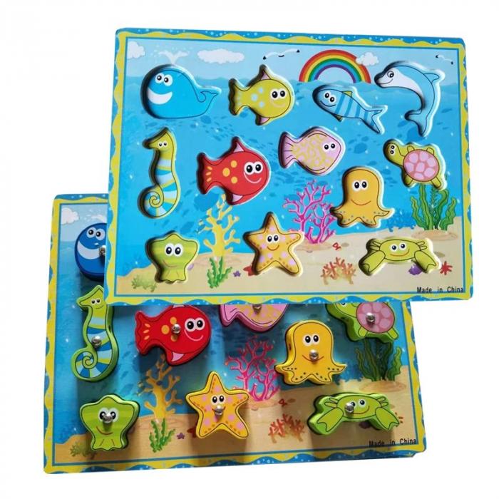 Joc 3 în 1 din lemn ANIMALE MARINE - puzzle 3D, joc de pescuit și jucărie de înșiruit [1]