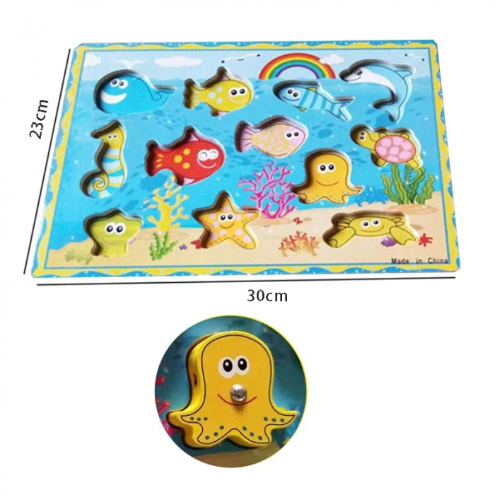 Joc 3 în 1 din lemn ANIMALE MARINE - puzzle 3D, joc de pescuit și jucărie de înșiruit [3]