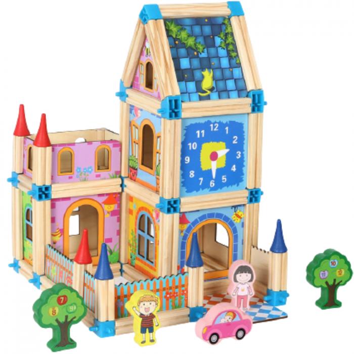 Set de construcție din lemn castel - Micul arhitect -128 piese- Master of Architecture Building Blocks toy [2]