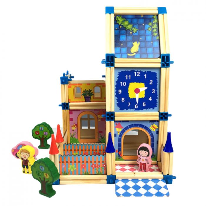 Set de construcție din lemn castel - Micul arhitect -128 piese- Master of Architecture Building Blocks toy [1]