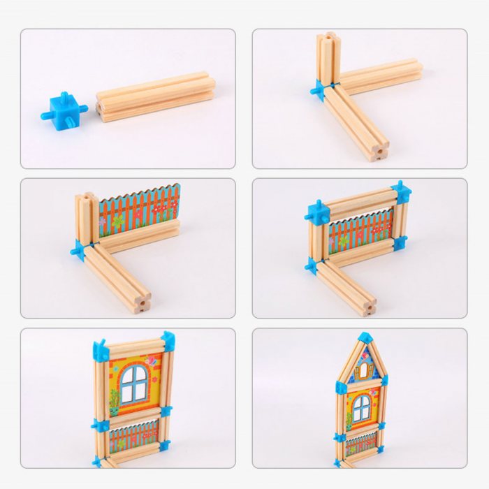 Set de construcție din lemn castel - Micul arhitect -128 piese- Master of Architecture Building Blocks toy [4]