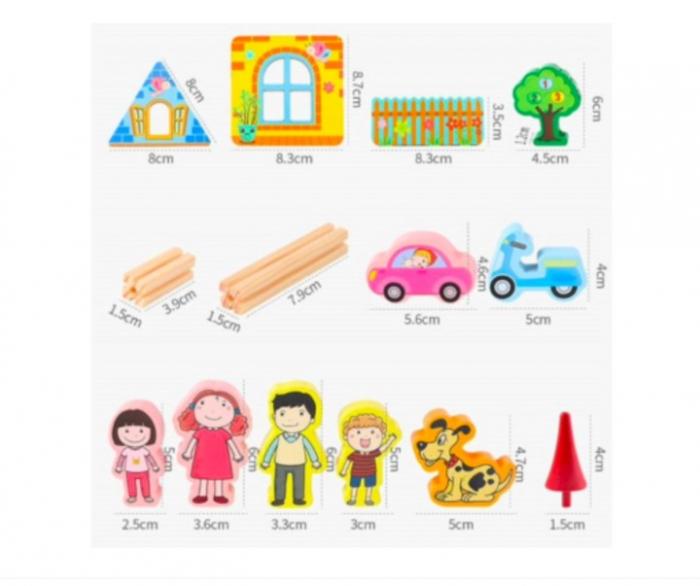Set de construcție din lemn castel - Micul arhitect -128 piese- Master of Architecture Building Blocks toy [5]