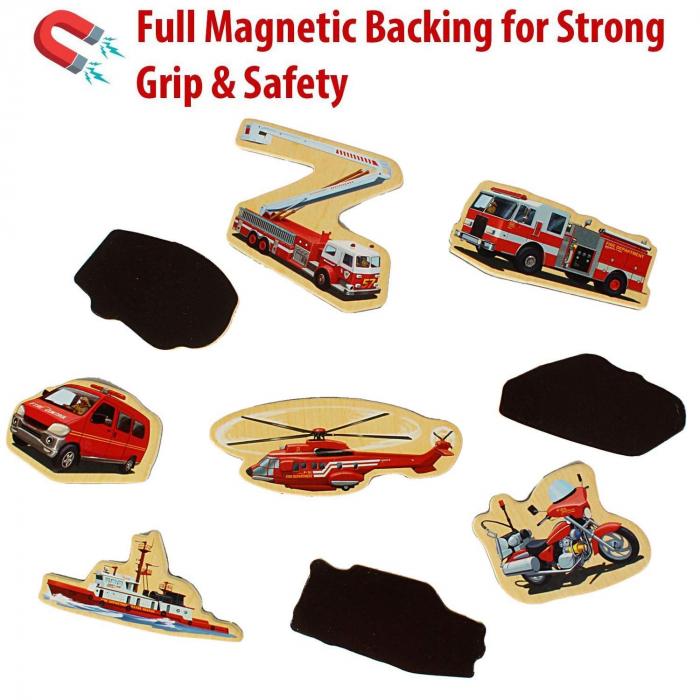 Set piese magnetice din lemn - vehicule de intervenție pompieri - în cutie din lemn cu mâner [3]
