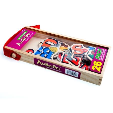 Set piese magnetice din lemn - litere alfabet - în cutie din lemn cu mâner [2]