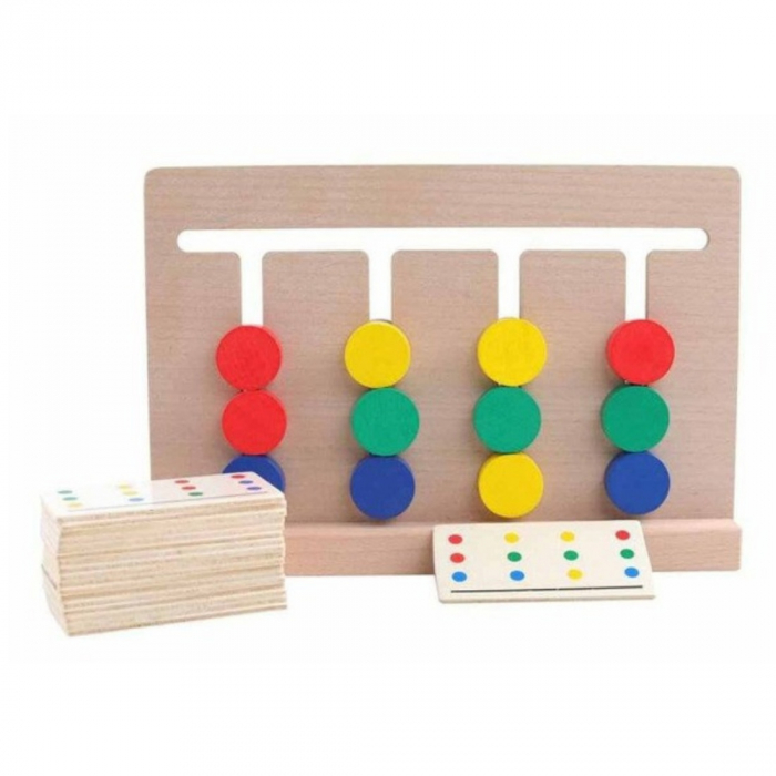 Joc Montessori de tip labirint de asociere și sortare culori - Four color game [2]