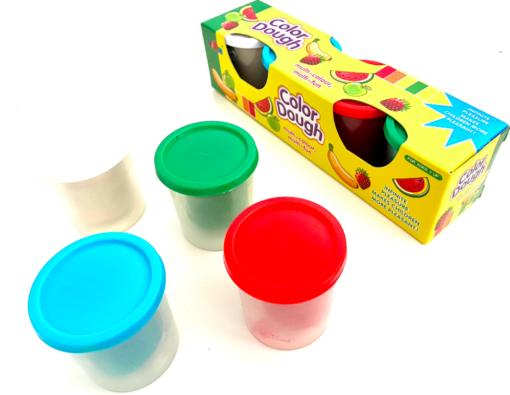 Set 4 tuburi de plastilină COLOR DOUGH alb, albastru, verde, roșu [0]