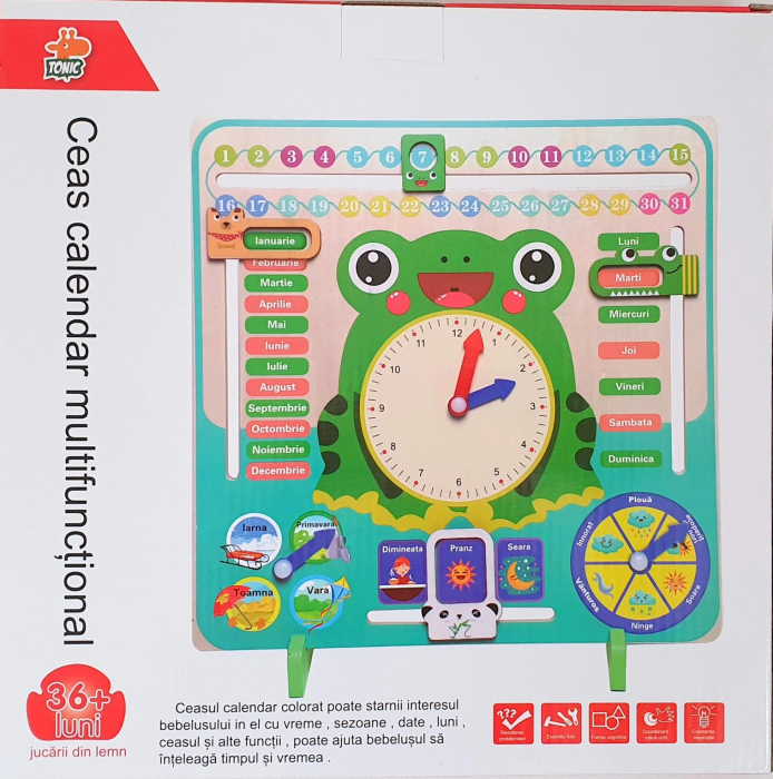 Ceas calendar multifuncțional din lemn Montessori Broscuță în limba română [1]