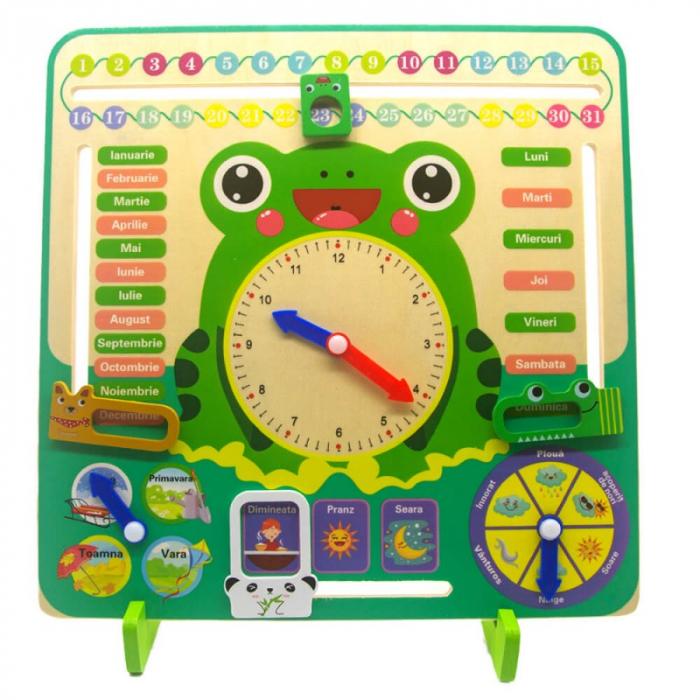 Ceas calendar multifuncțional din lemn Montessori Broscuță în limba română [0]