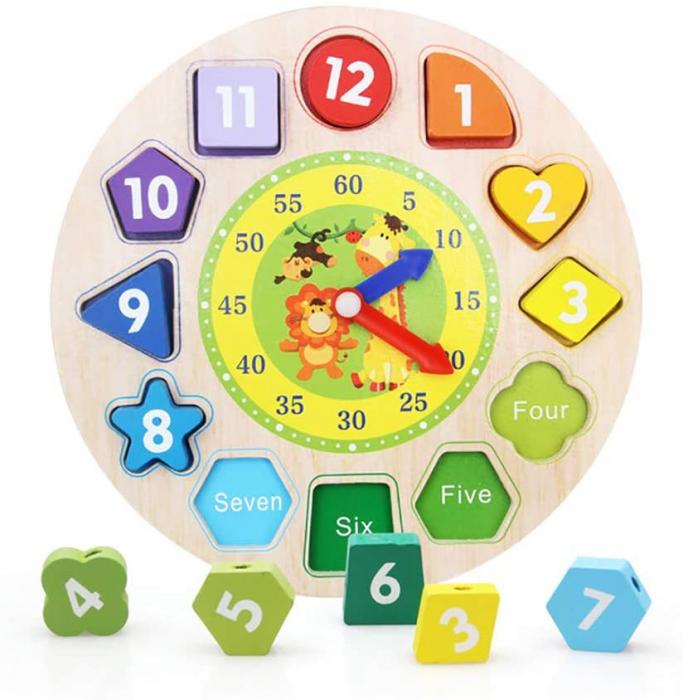 Ceas puzzle din lemn Montessori și jucărie de înșiruit. [0]