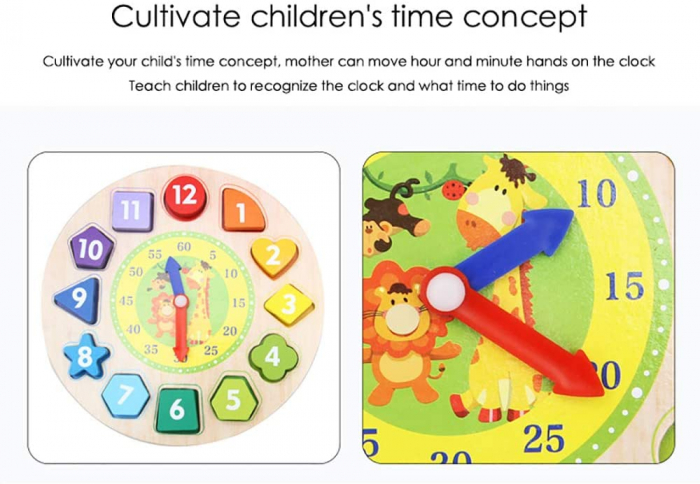 Ceas puzzle din lemn Montessori și jucărie de înșiruit. [2]