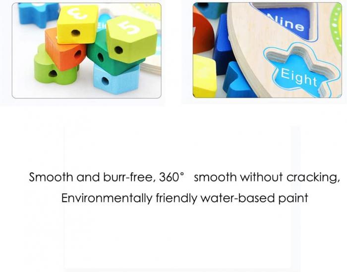 Ceas puzzle din lemn Montessori și jucărie de înșiruit. [4]