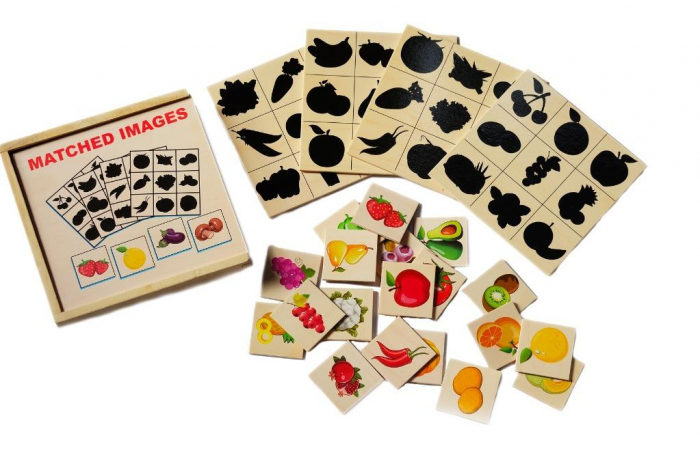 Jocul umbrelor - joc de asociere de tip Montessori din lemn- Fructe și legume [1]