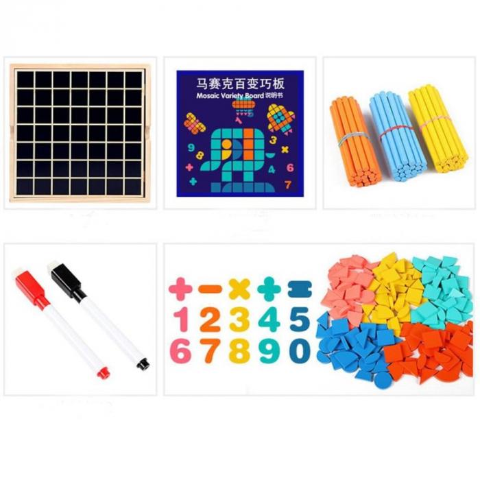Set Mozaic 3 în 1 din lemn - Puzzle Mozaic tip Tangram, tablă de scris cu carioca lavabilă și joc de calcule matematice [2]