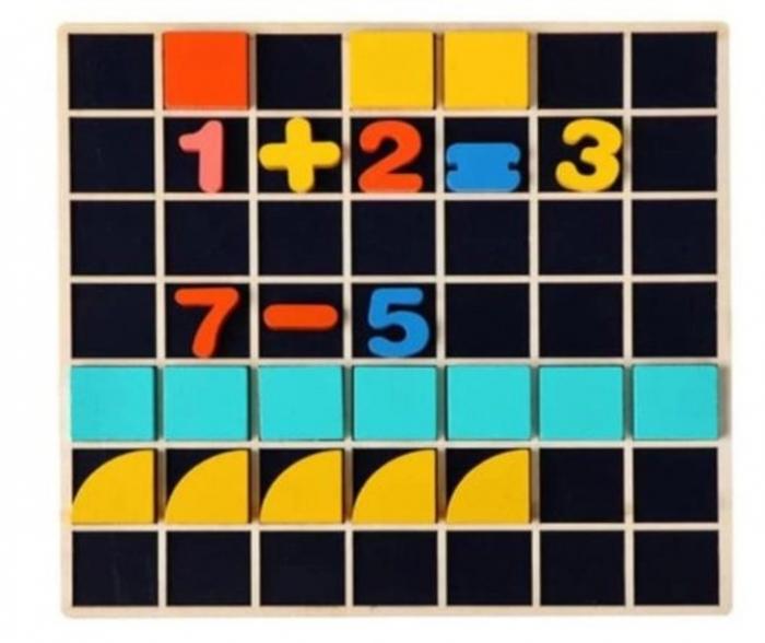 Set Mozaic 3 în 1 din lemn - Puzzle Mozaic tip Tangram, tablă de scris cu carioca lavabilă și joc de calcule matematice [5]